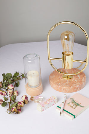 Pink Marble Gold Frame Open Bulb Table Lamp - picnic-sf