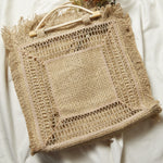 Large Straw Weave Square Tote Bag - picnic-sf