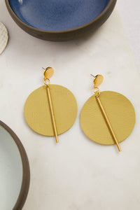 Citron Leather Circle Post Earrings - picnic-sf