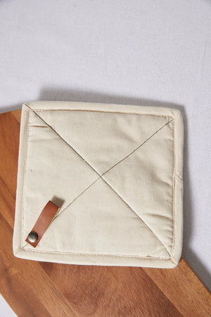 Square Cotton Pot Holder with Leather Loop - picnic-sf