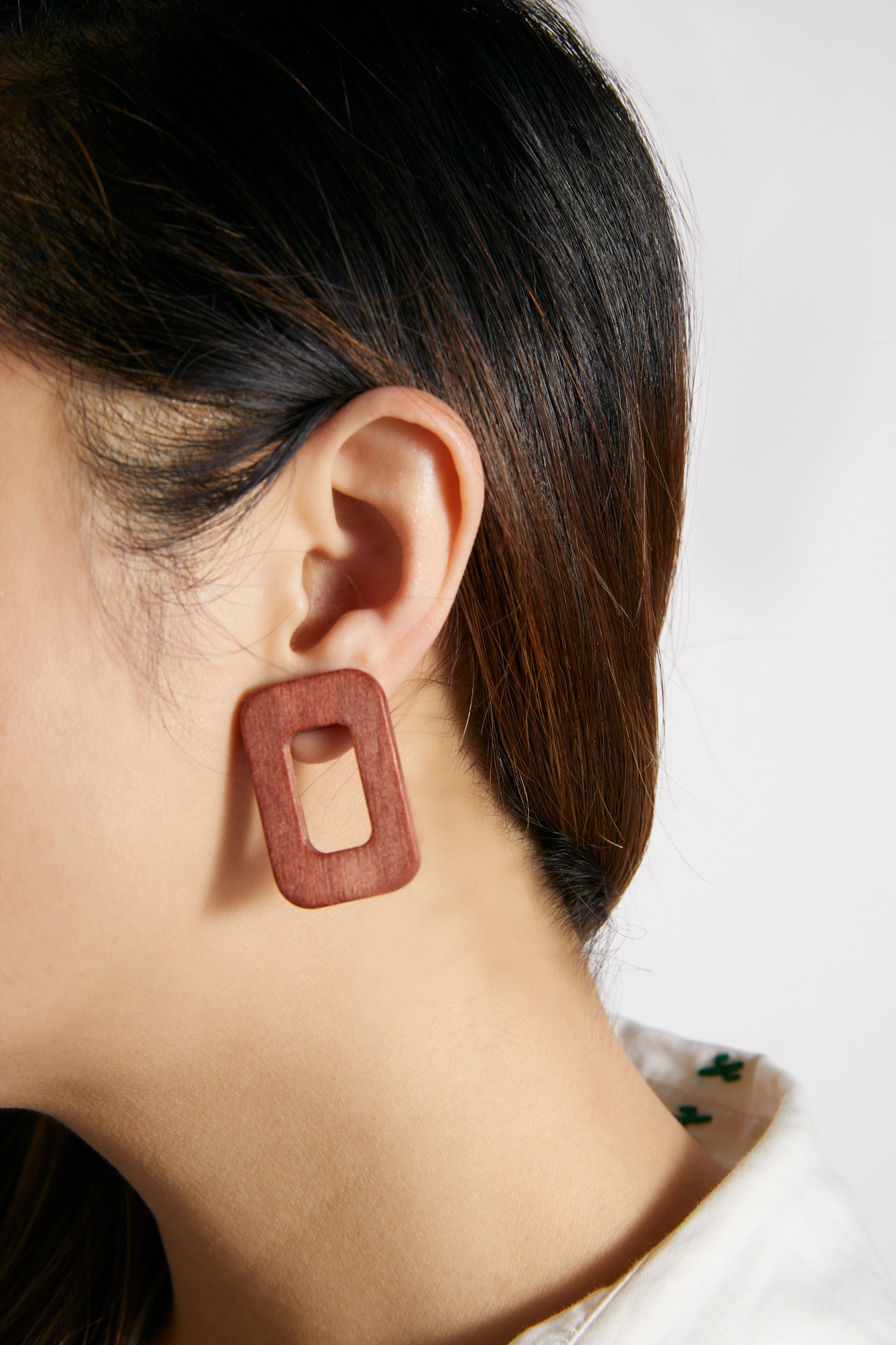Brown Wooden Rectangular Earrings - picnic-sf