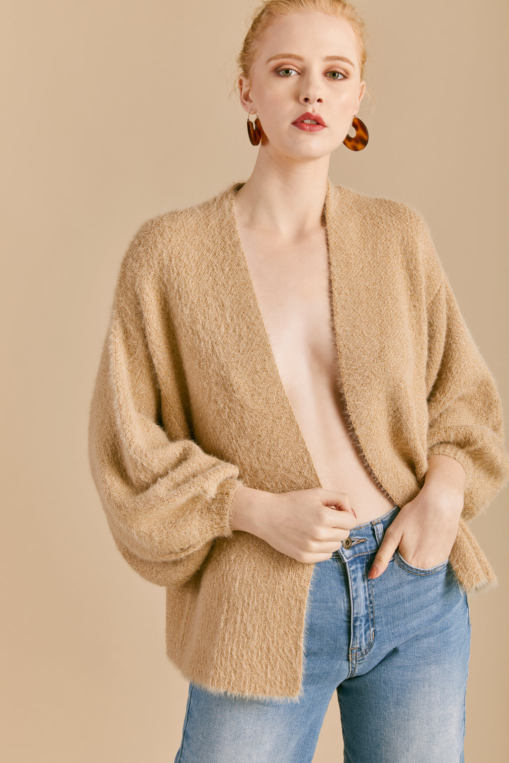 Fuzzy Metallic Open Front Cardigan - picnic-sf