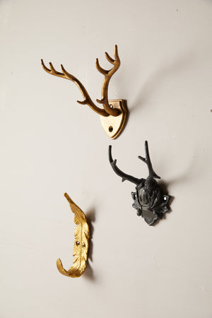 Antiqued Black Pewter Antler Mont Wall Hook - picnic-sf