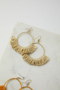 Ivory Seed Bead Hoop With Fringe Earring - picnic-sf