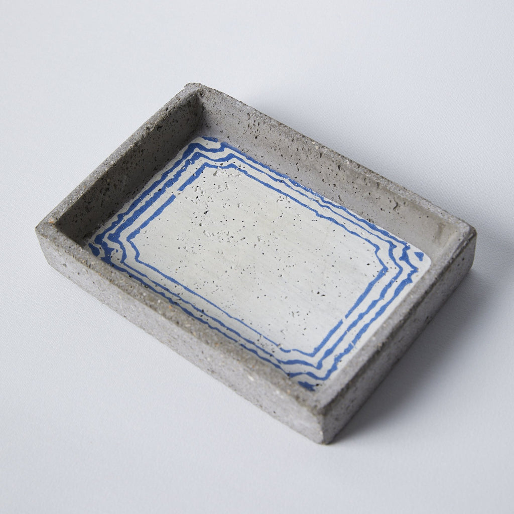 Blue & White Accents Cement Tray - picnic-sf