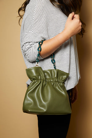 Olive Green Link Bucket Bag - picnic-sf