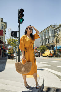 Kimono Midi Dress With Contrast Rope - picnic-sf