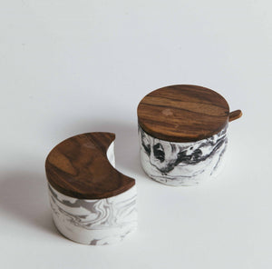 Marble Cement Salt Cellar Set With Teak Wood Lid - picnic-sf