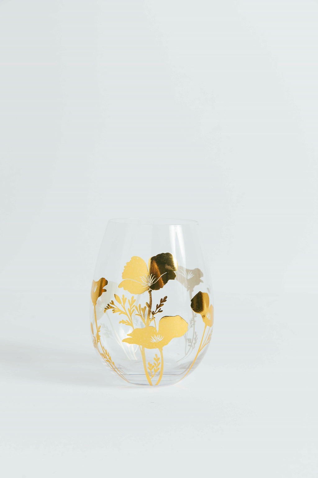 California Metallic Gold Poppy Stemless Glass - picnic-sf