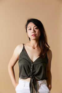 Olive Tie Front Cropped Tank Top - picnic-sf