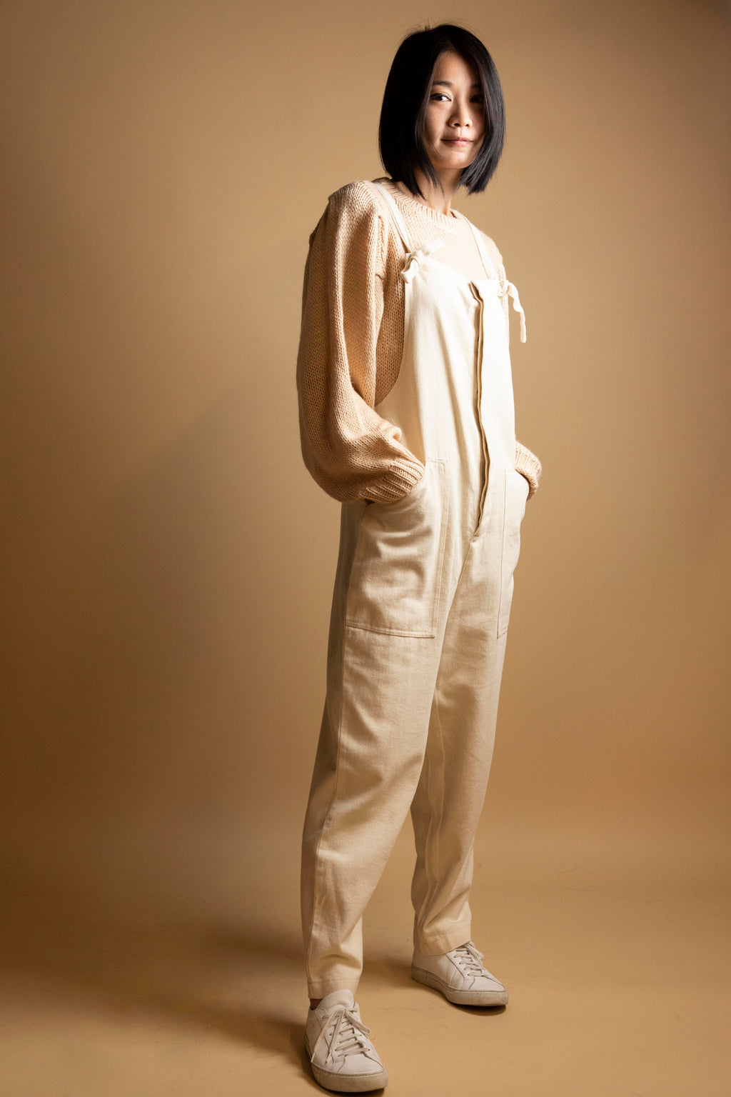 Bisque Woven Canvas Overalls