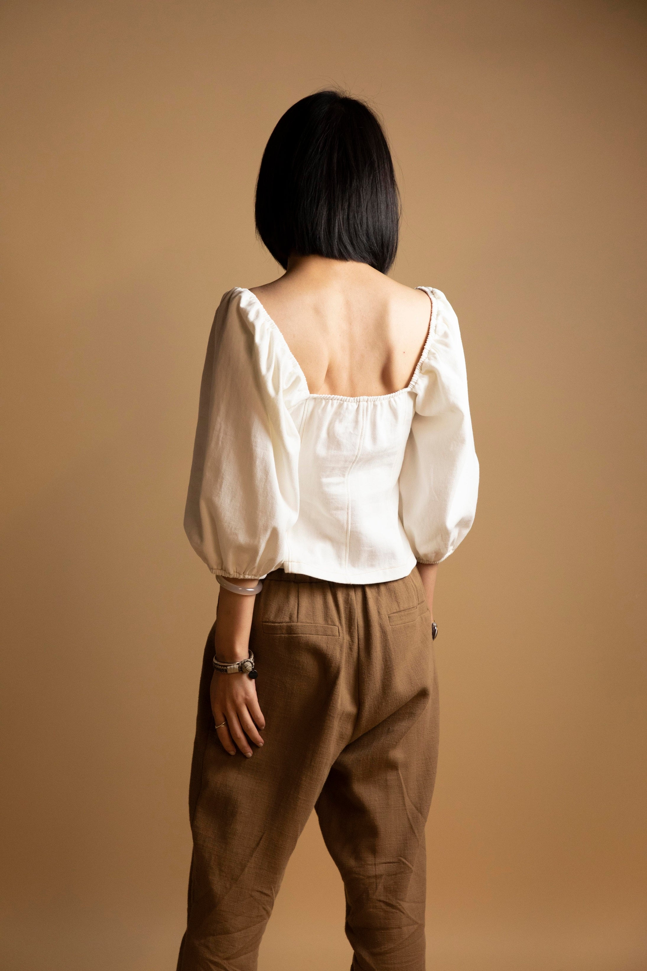 Off White Square-Neck Button Down Woven Top