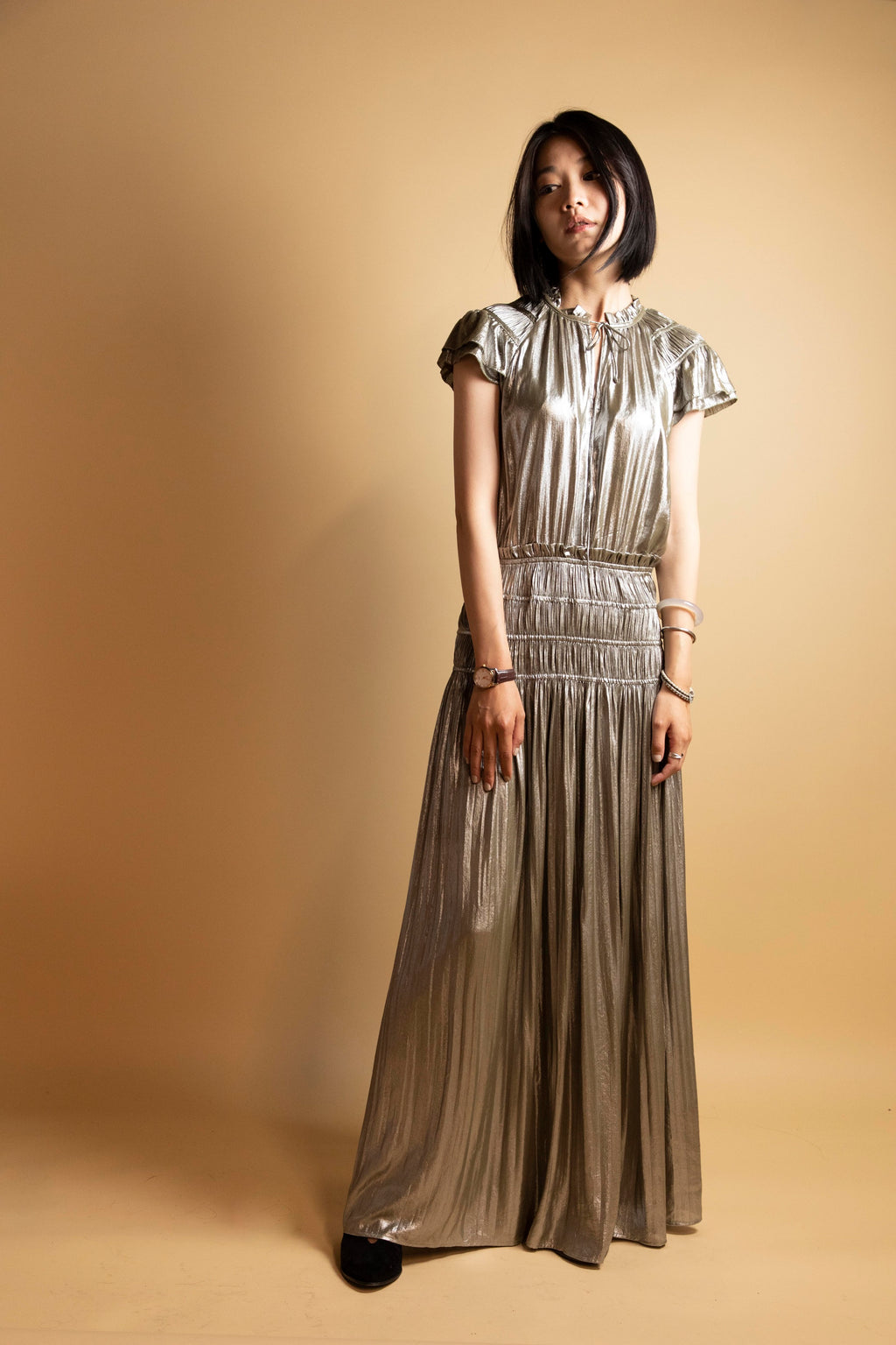 Silver Metallic Draper Ruffled Maxi Dress -Picnic-sf