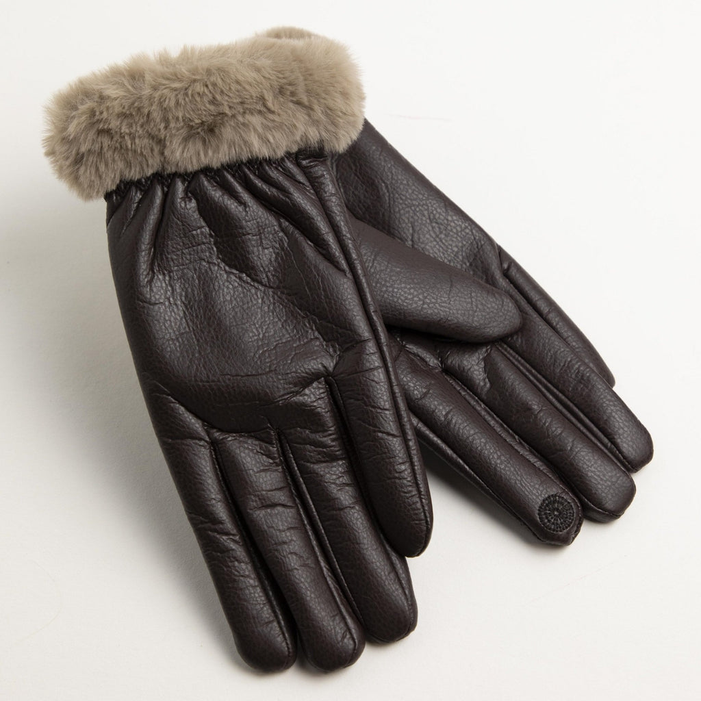 Touch Screen Fuzzy Lined & Cuff Leather Gloves-Picnic-sf