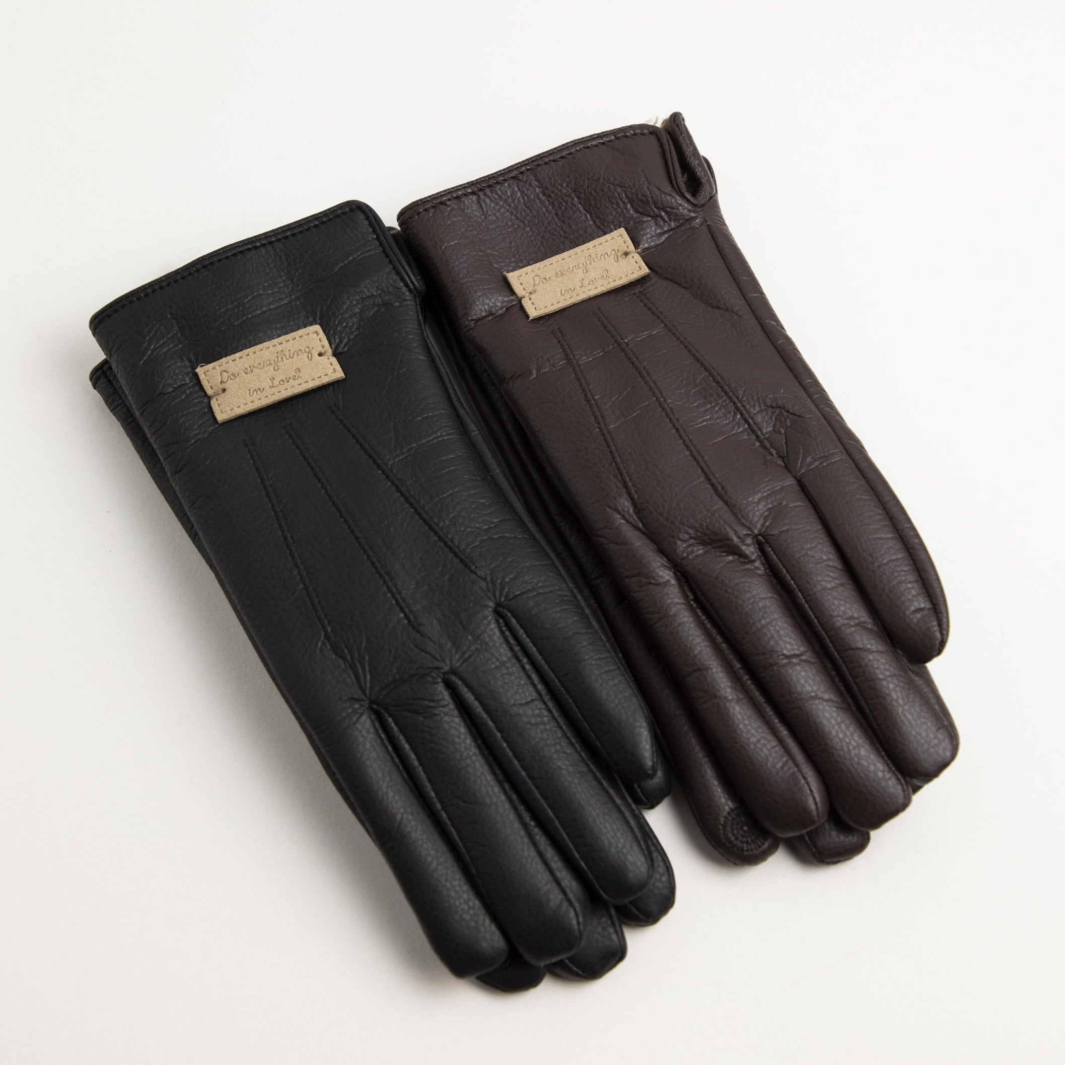 Touch Screen Fuzzy Lined Leather Gloves-Picnic-sf