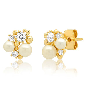 Pearls & Shaped CZ Cluster Studs Earrings-Picnic-sf