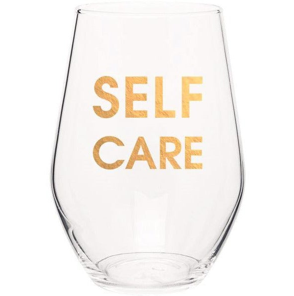 Self Care Gold Foil Stemless Wine Glass