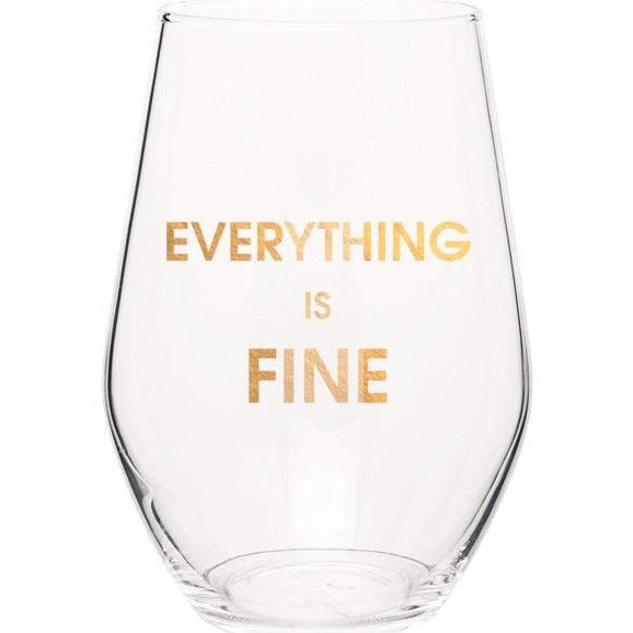 Everything Is Fine Gold Foil Stemless Wine Glass-Picnic-sf