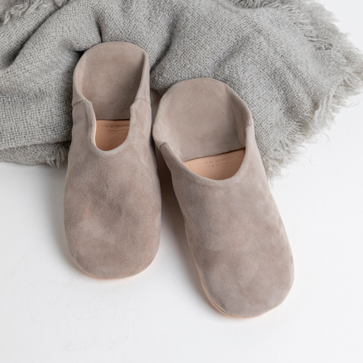 Moroccan Babouche Slippers in Grey available at PICNIC SF