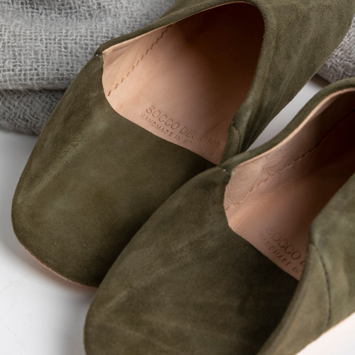 Moroccan Babouche Slippers in Olive available at PICNIC SF