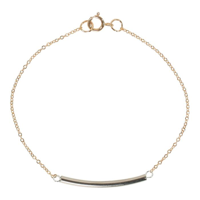 Two Tone Silver Tube with Gold Thin Chain Bracelet