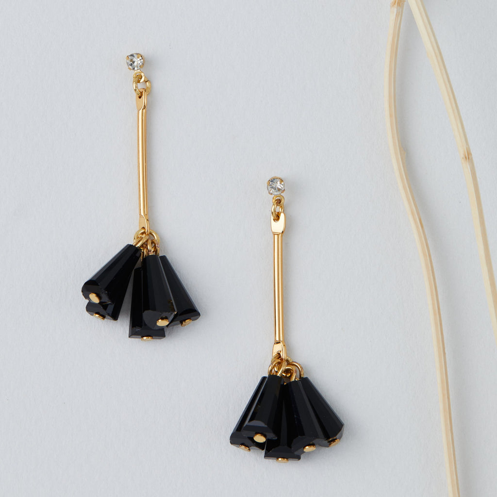 Black Stick Jet Dangle Earrings