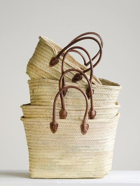 Leather Handle Hand Woven Basket-Picnic-sf