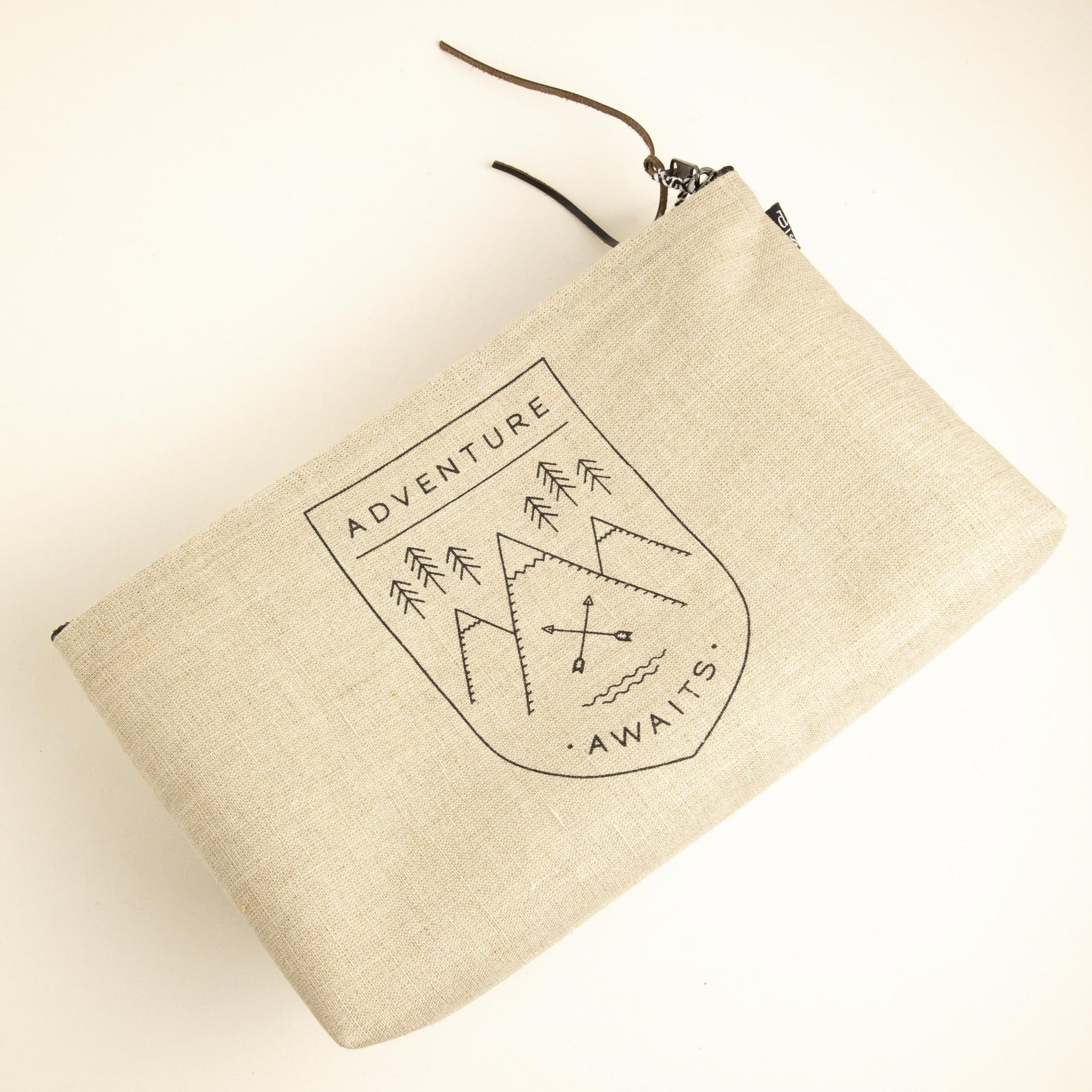 Adventure Awaits Linen Cosmetic Bag-Picnic-sf