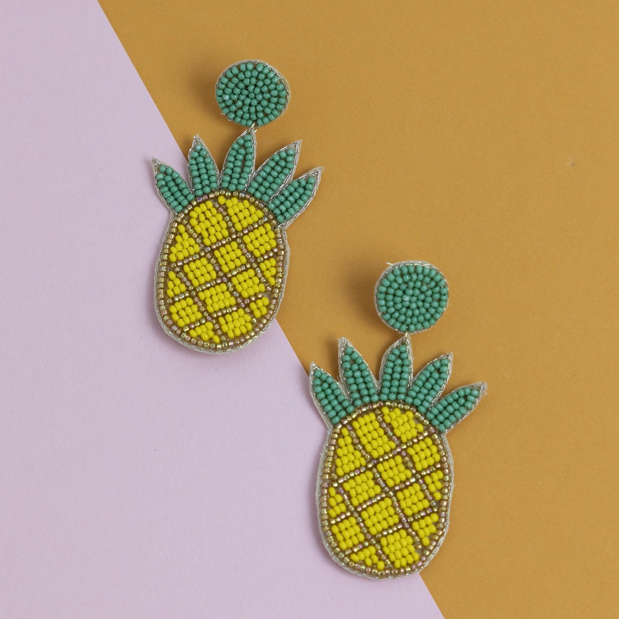 Seed Bead Pineapple Earrings
