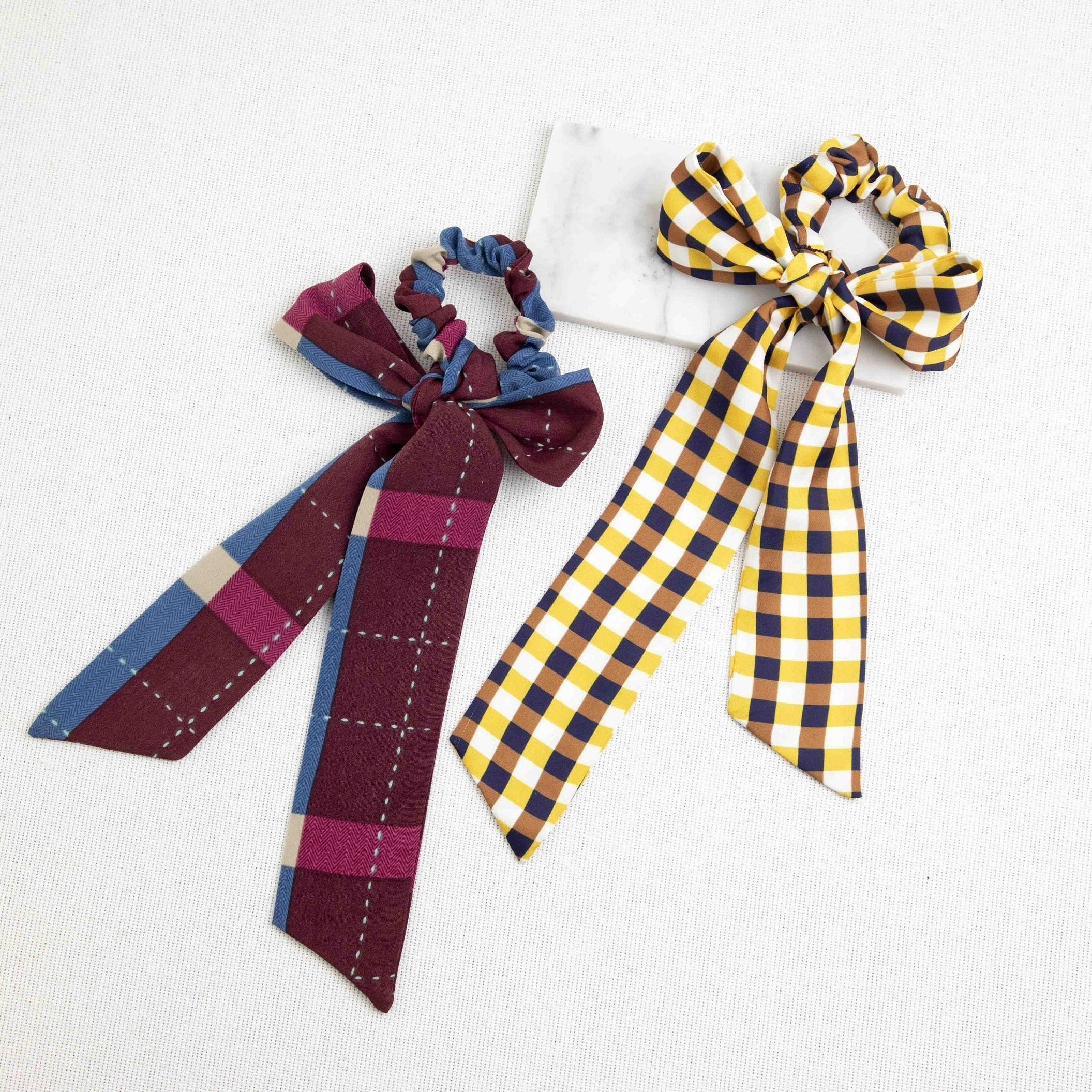 Plaid Scarf Pony Tail Holder-Picnic-sf