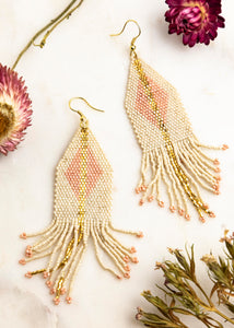 Ivory with Blush Luxe Diamond Gold Fringe Earrings
