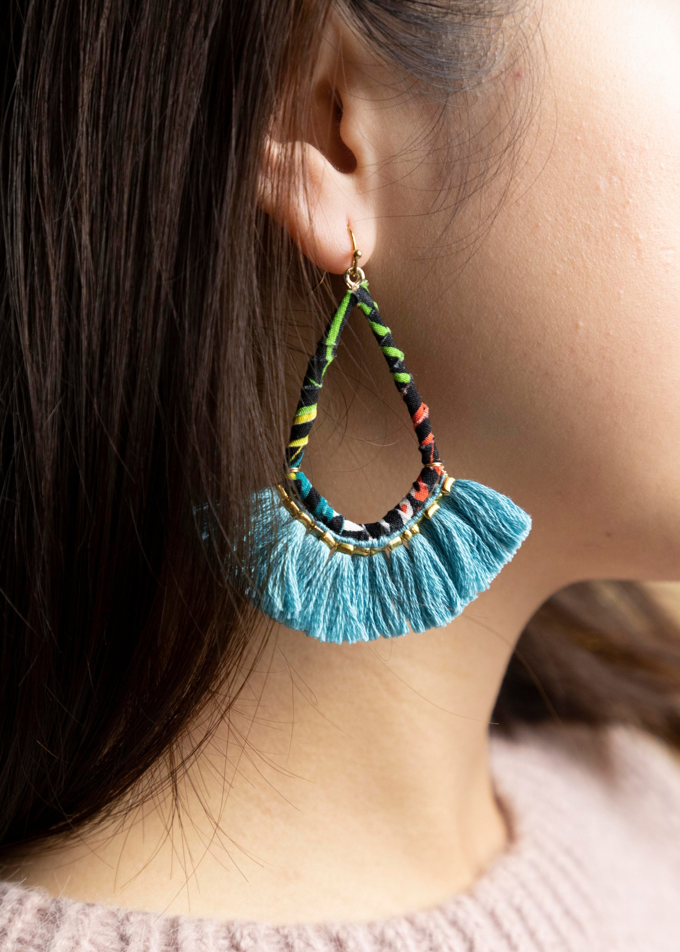 Fabric Teardrop Fringe Earrings