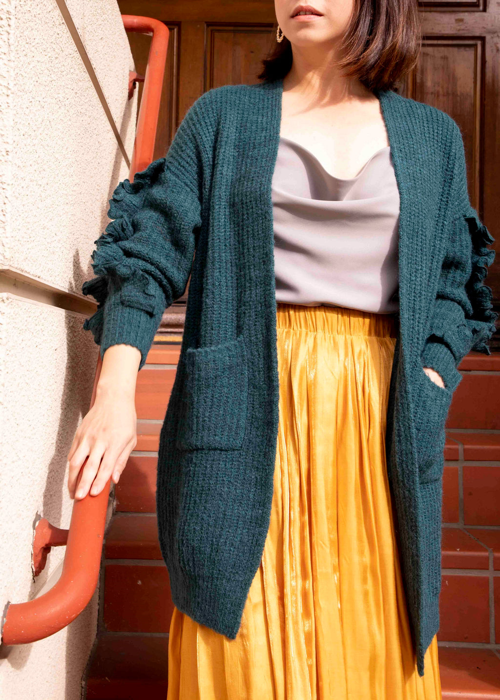 Ruffle Sleeve Open Front Cardigan-Picnic-sf