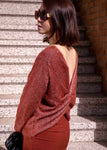 Twist Knot Back Glitter Sweater-Picnic-sf