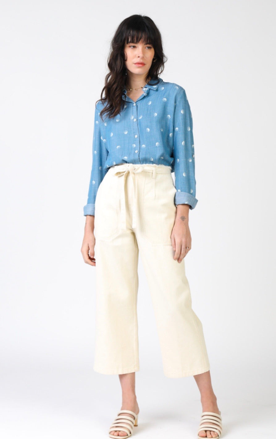 Cream Denim Cropped Pants with Waist Tie-Picnic-sf