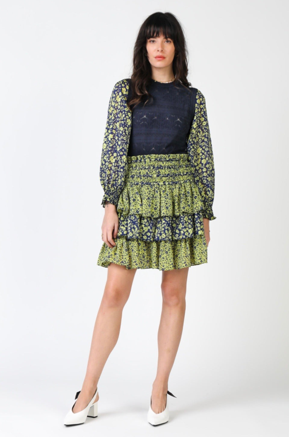 Ditsy Floral Print Mix Smocked Waist Skirt-Picnic-sf
