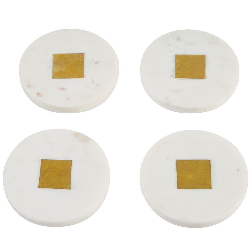 White Marble & Brass Coaster Set-Picnic-sf