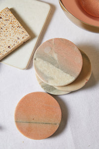 Rose Round Marble Coaster Set - picnic-sf