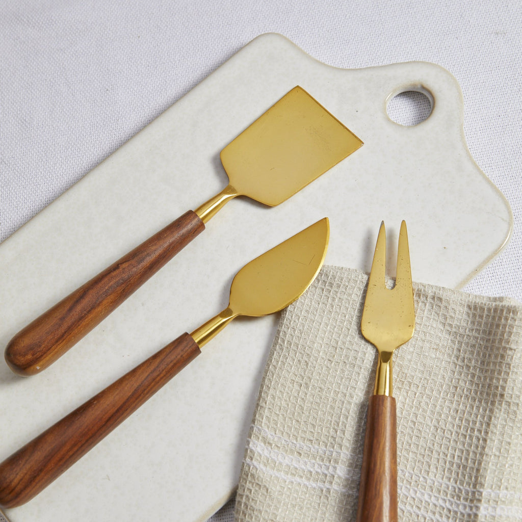 Walnut & Gold Cheese Knife Set - picnic-sf