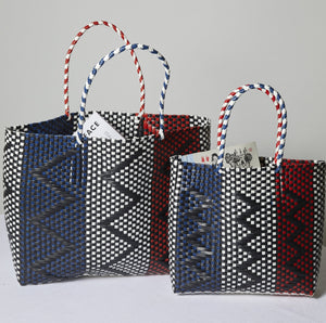 Striped Basket Weave Tote Bag - picnic-sf