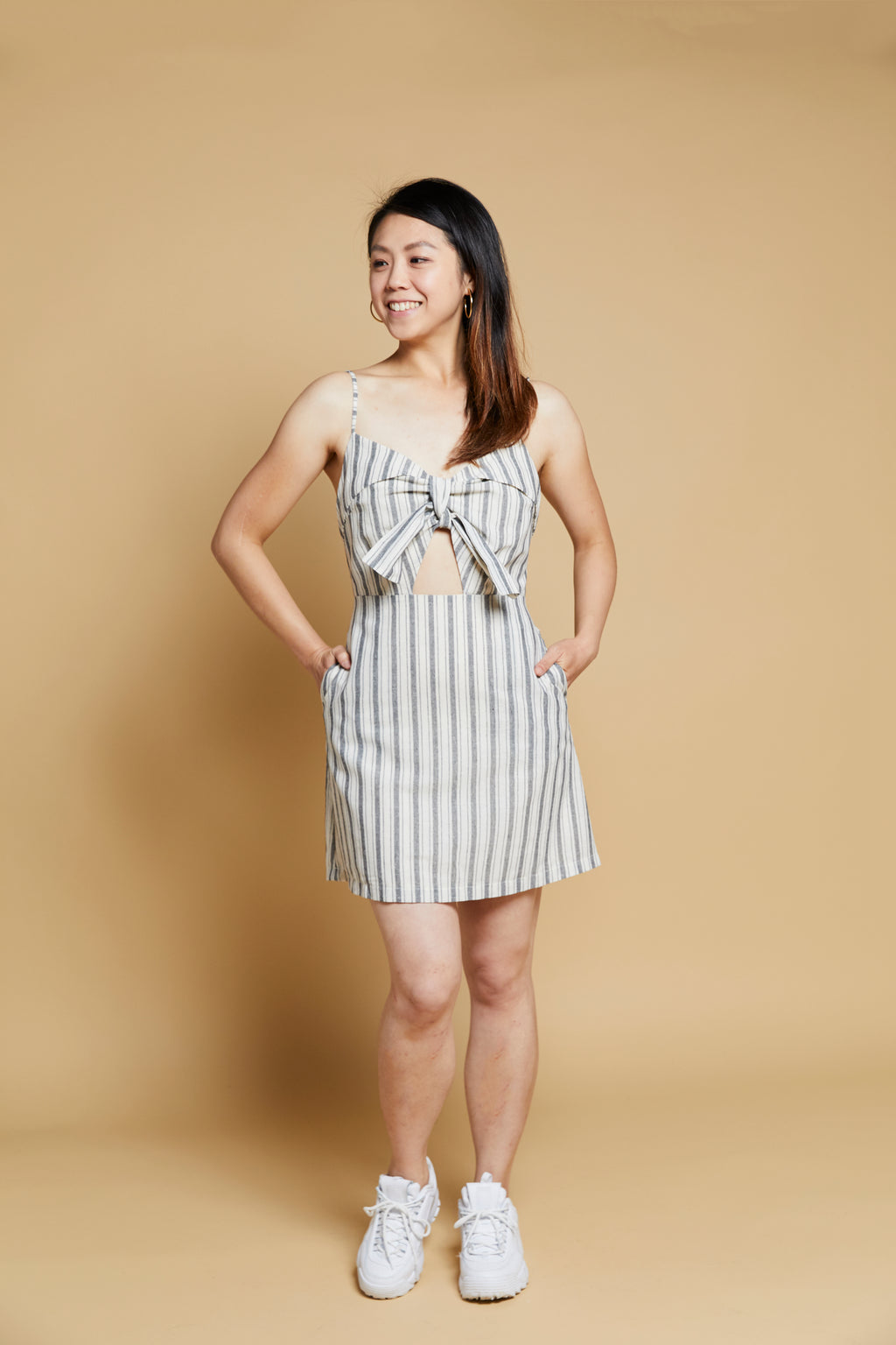 Striped Front Knot Cami Dress - picnic-sf
