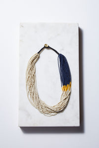 Ivory Color Block Seed Bead Necklace - P I C N I C