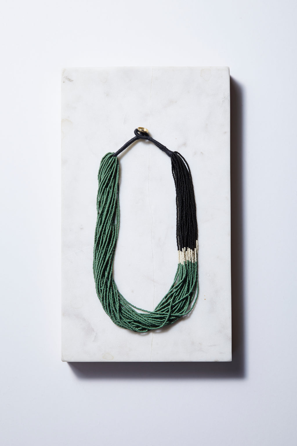 Emerald Color Block Seed Bead Necklace