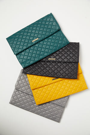 Mustard Quilted Nylon Fold Over Clutch - P I C N I C