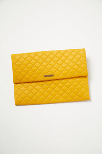 Mustard Quilted Nylon Fold Over Clutch - picnic-sf