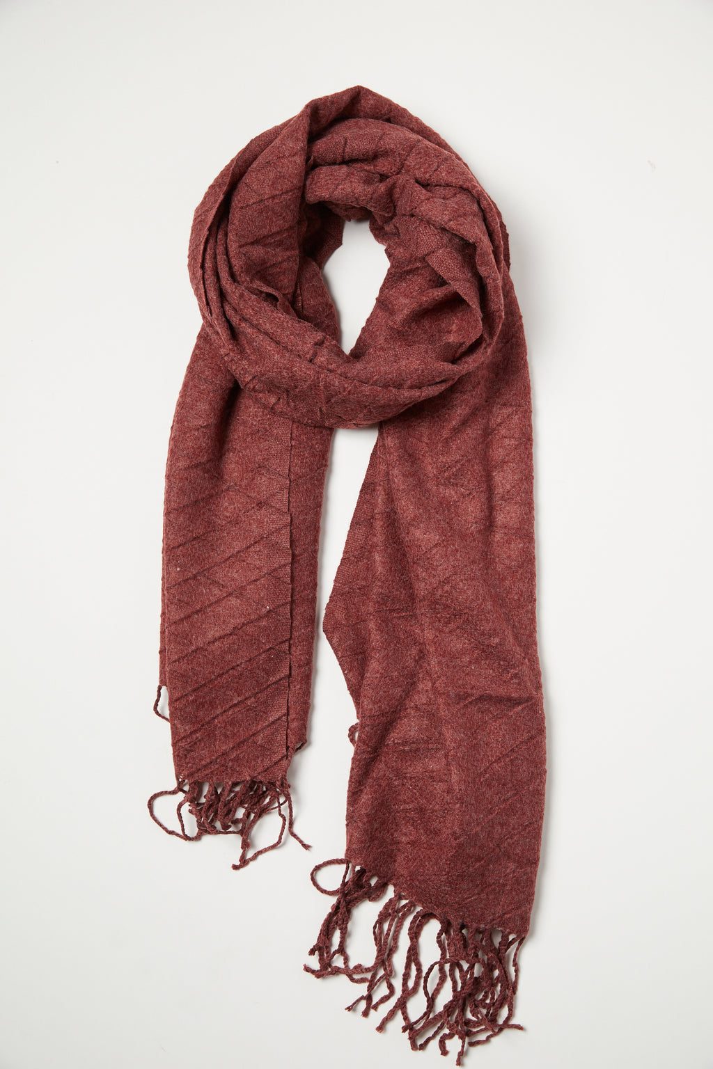 Burgundy Waffle Texture Scarf - picnic-sf