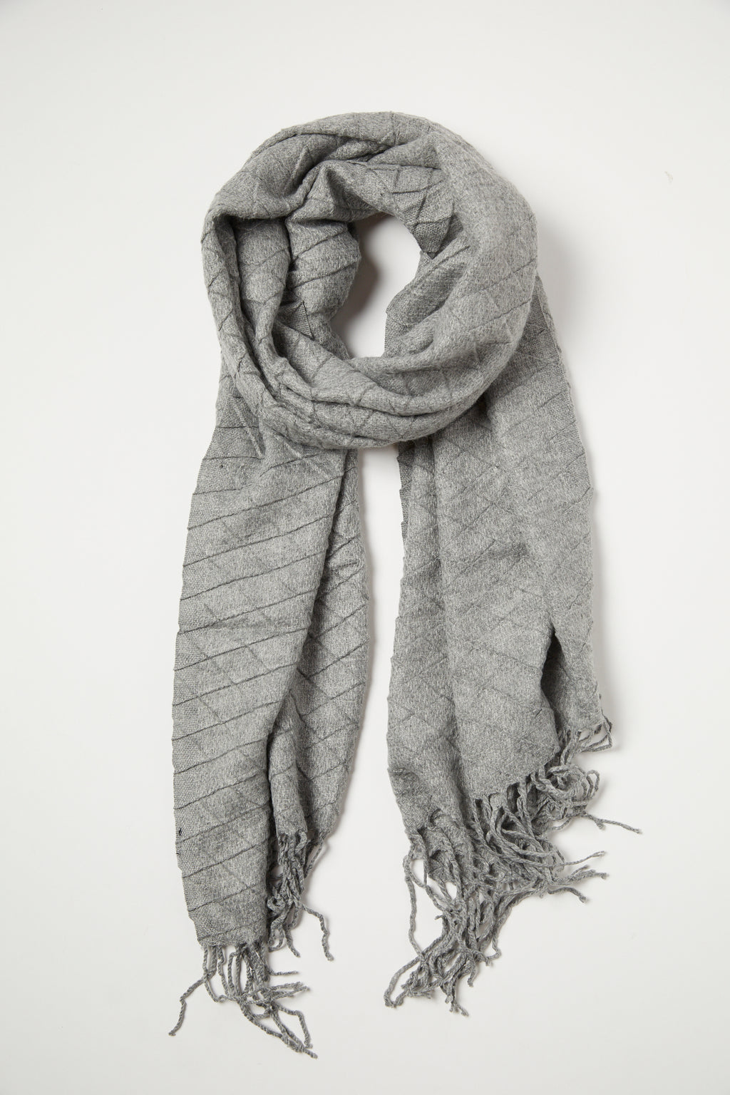 Grey Waffle Texture Scarf - picnic-sf