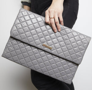 Grey Quilted Nylon Fold Over Clutch - picnic-sf