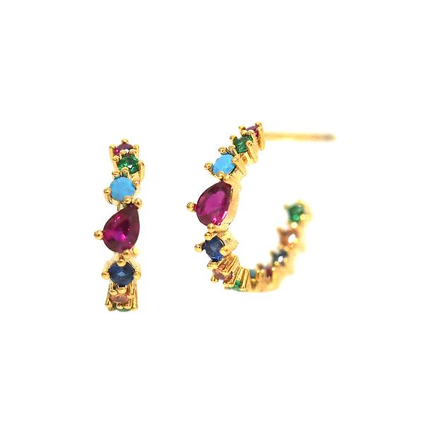 Small Multi Rainbow CZ Hoop Earrings-Picnic-sf