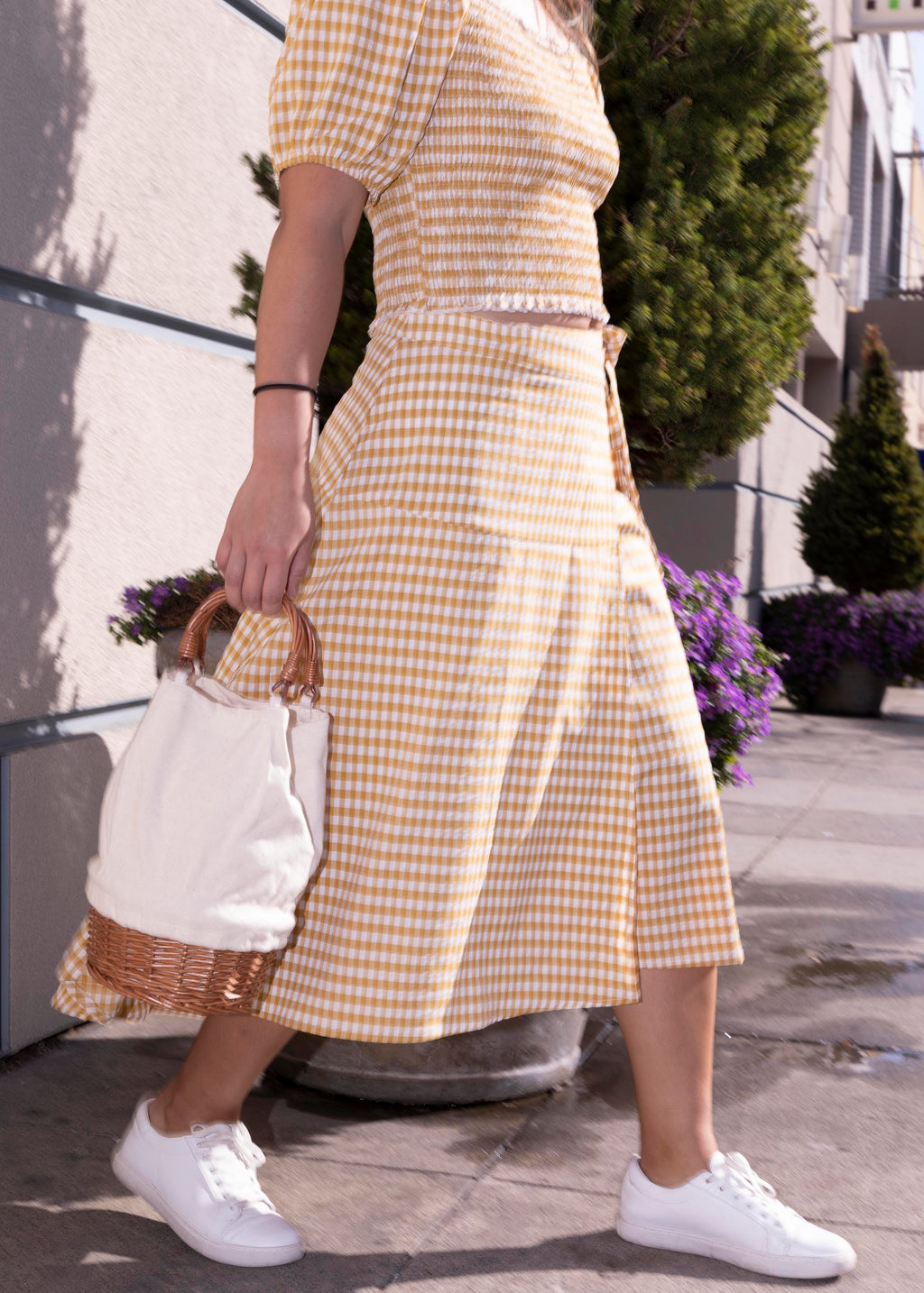 Set Yellow Plaid Flare Wrap Midi Skirt-Picnic-sf